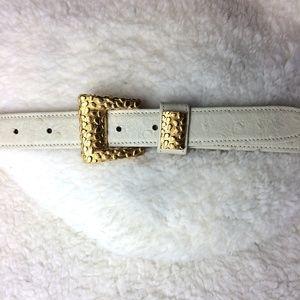 CARLISLE Genuine Leather Belt Cream Gold White L
